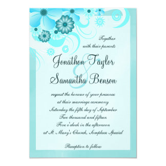 Blue Hibiscus Floral Custom Wedding Invitation