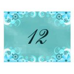 Blue Hibiscus Floral Reception Table Number Cards Post Card