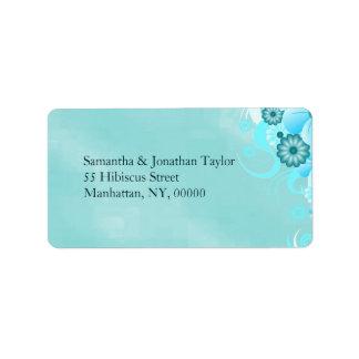 Blue Hibiscus Floral Return Address Labels Favors Personalized Address Labels