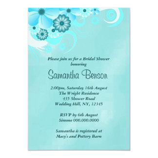 Blue Hibiscus Floral Wedding Bridal Shower Invites