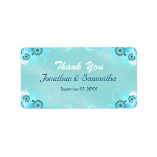 Blue Hibiscus Floral Wedding Favor Favour Labels Personalized Address Labels