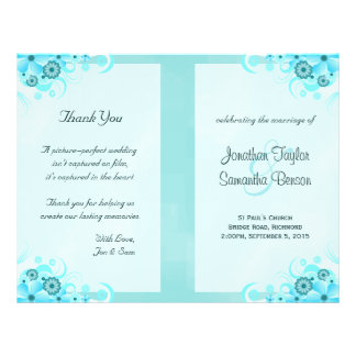 Blue Hibiscus Floral Wedding Program Templates Flyer