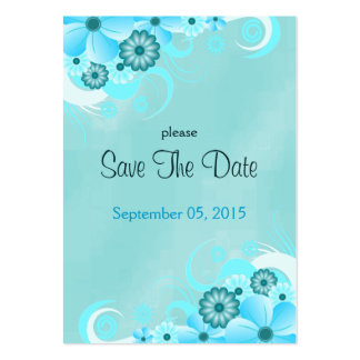 Blue Hibiscus Floral Wedding Save The Date Cards Large Business Cards (Pack Of 100)