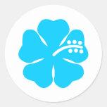 Blue hibiscus flower design classic round sticker