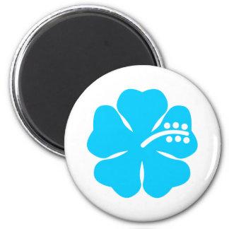 Blue hibiscus flower design magnet