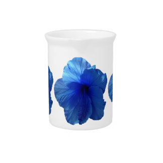 Blue Hibiscus Flower Drink Pitchers