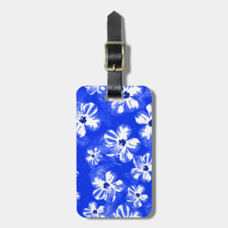 Blue Hibiscus Flowers Luggage Tag