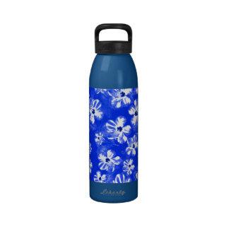Blue Hibiscus Flowers Reusable Water Bottle