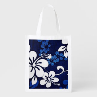 blue hibiscus grocery bags