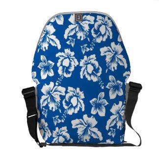 Blue Hibiscus Hawaiian Flowers Messenger Bag