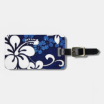blue hibiscus Hawaiian pattern Luggage Tags