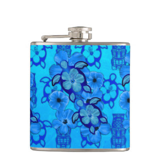 Blue Hibiscus Honu Turtles Tiki Flask