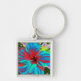 Blue Hibiscus  Islands Floral  Keyring Keychain