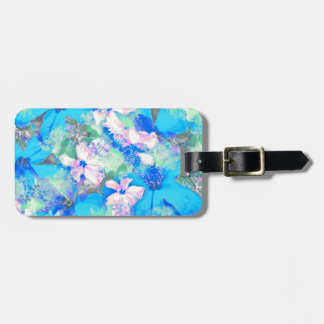 Blue Hibiscus Jungle Luggage Tags
