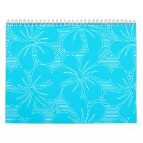 Blue Hibiscus lines Calendar