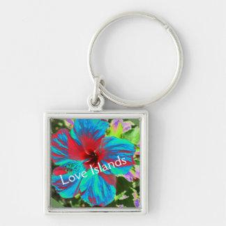 Blue Hibiscus Love Islands Floral  Keyring Keychain