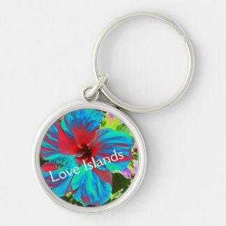 Blue Hibiscus Love Islands Floral Tropical Keyring Keychain