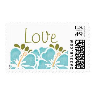 Blue Hibiscus Love Postage Wedding Stamps