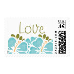 Blue Hibiscus Love Postage Wedding Stamps