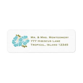 Blue Hibiscus Return Address Labels Custom