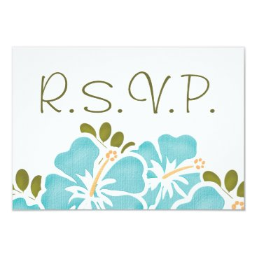 Beach Themed BLUE HIBISCUS RSVP WEDDING RESPONSE CARDS