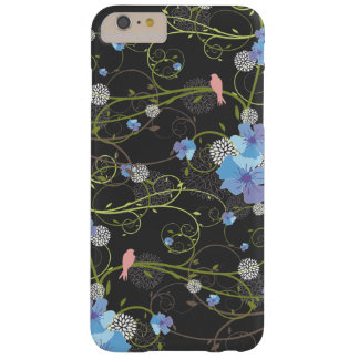 Blue Hibiscus Swirls Swallows Birds Floral Case Barely There iPhone 6 Plus Case