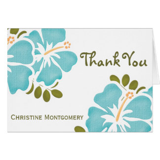 Blue Hibiscus Thank You Notes Cards