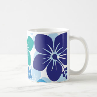 Blue Hibiscus / Tropical Flowers on White Mug