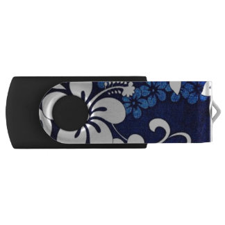 blue hibiscus USB flash drive