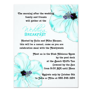 "Blue Hibiscus Wedding Breakfast Invitation 4.25"" X 5.5"" Invitation Card"