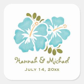 Blue Hibiscus Wedding Favor Sticker Seal