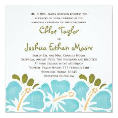 """Blue Hibiscus Wedding Invitations 5.25"""" Square Invitation Card at Zazzle"""