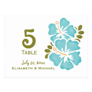 Blue Hibiscus Wedding Reception Table Number Cards