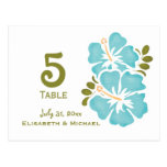 Blue Hibiscus Wedding Reception Table Number Cards Postcard