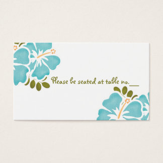 Blue Hibiscus Wedding Table Place Cards