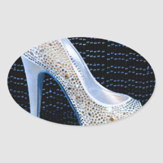 Blue High Heel Oval Sticker