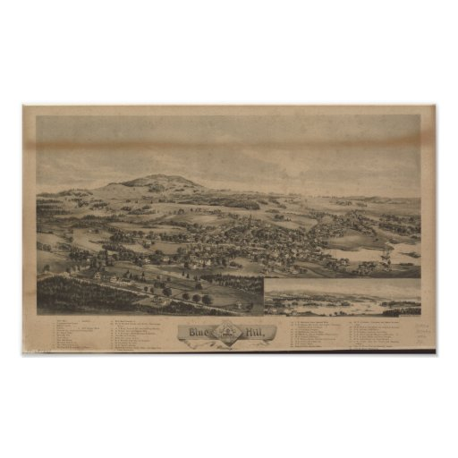 Blue Hill Maine 1896 Antique Panoramic Map Poster