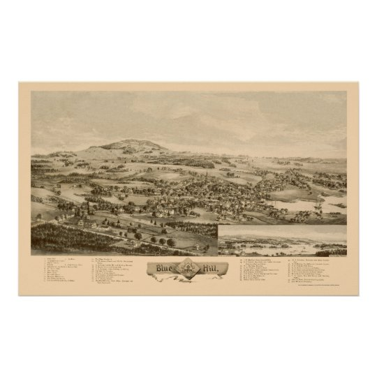 Blue Hill, ME Panoramic Map - 1896 Poster
