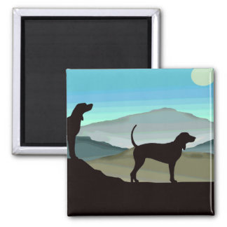 Blue Hills Coonhounds 2 Inch Square Magnet