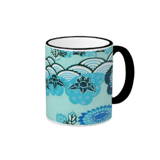 Blue Hills & Flowers Ringer Mug