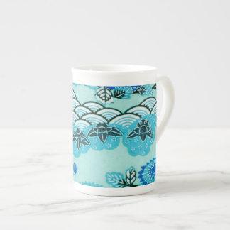 Blue Hills & Flowers Tea Cup