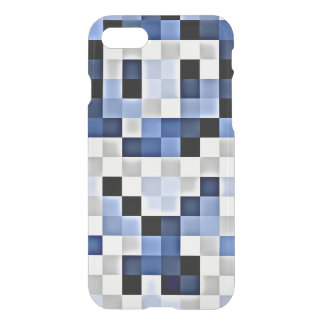 Blue Hints Mosaic Transparent iPhone Case