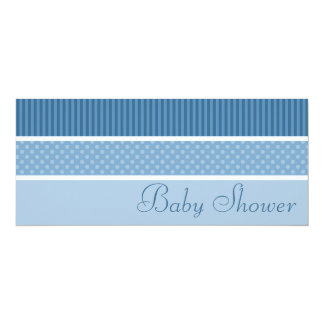"""Blue Hip Stripes and Dots Baby Shower Invitations 4"""" X 9.25"""" Invitation Card"""
