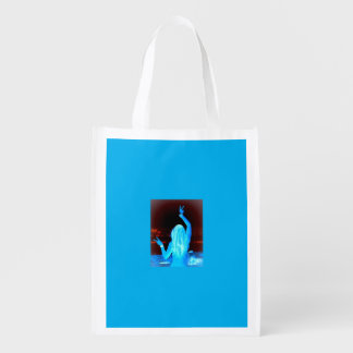 blue hippie girl peace sign reusable grocery bag