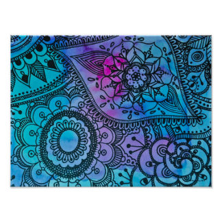 Blue Hippie Pattern Poster By Megaflora