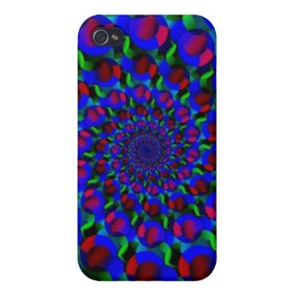 Blue Hippie Spiral Fractal Art Pattern Cover For iPhone 4