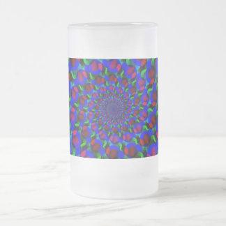 Blue Hippie Spiral Fractal Art Pattern Frosted Glass Beer Mug