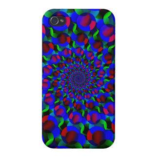 Blue Hippie Spiral Fractal Art Pattern iPhone 4/4S Case