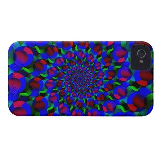 Blue Hippie Spiral Fractal Art Pattern iPhone 4 Cover