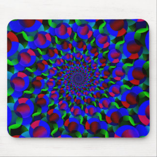 Blue Hippie Spiral Fractal Art Pattern Mouse Pad